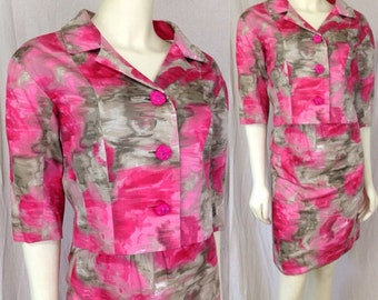 Vintage Vogue Couturier 1960s Jackie Kennedy suit Watercolor Fabric Pink Grey Extra Small