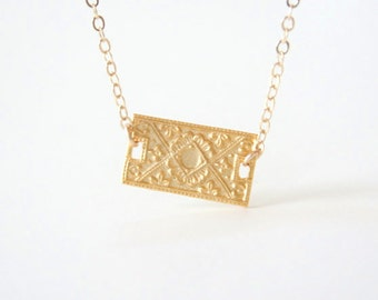 French - An Ornate 18K Vermeil Necklace - On 14K Gold filled chain- simple everyday layering necklace