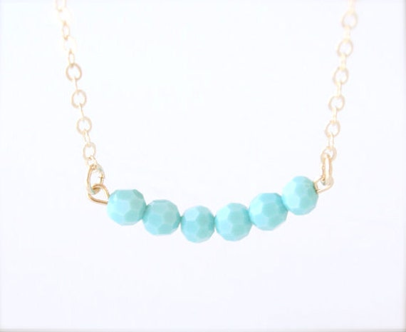 At Sea - Dainty Round Turquoise Beaded Necklace - 14K Gold filled everyday blue dainty delicate jewelry