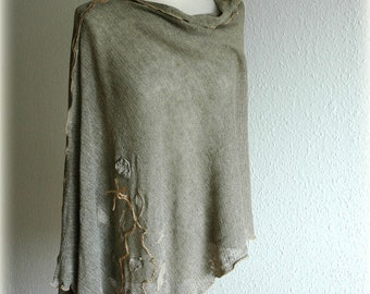 LINEN Natural Grey Delicate  Knitted Poncho With Linen Appliqes Eco Friendly Clothing  Plus Size
