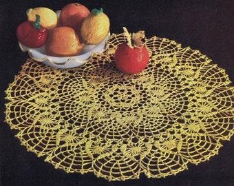 """PDF Large """"Golden Citrus"""" Doily Vintage Crochet Pattern, c. 1953"""