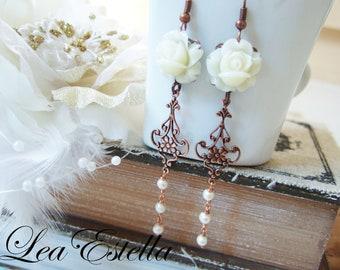 Vintage Copper Cream white Freshwater Pearls Rose Floral Garden Wedding Earrings - Dreamy Bride