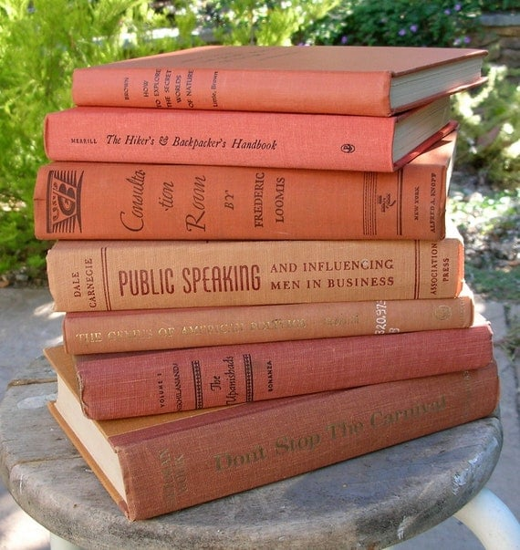 Vintage Peachy Orange  Books Orange Library Fall Decor 6 Book Stack