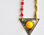 Retro Dot in Yellow - Handmade Resin Rustic Geometric Pendant and Oxidized Brass Chain Necklace