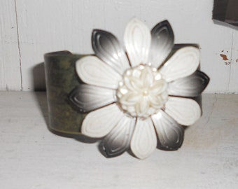 Brass etched cuff with vintage metal flower drape tieback altered cold connection, price reduced for the holidays!