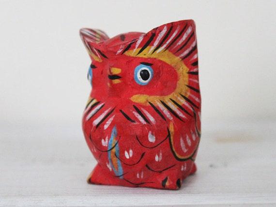 SALE Owl Figure Bird Figurine Ornament Decoration Red