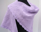 Crocheted lavender lilac shawl with moss stitching and scallop edging