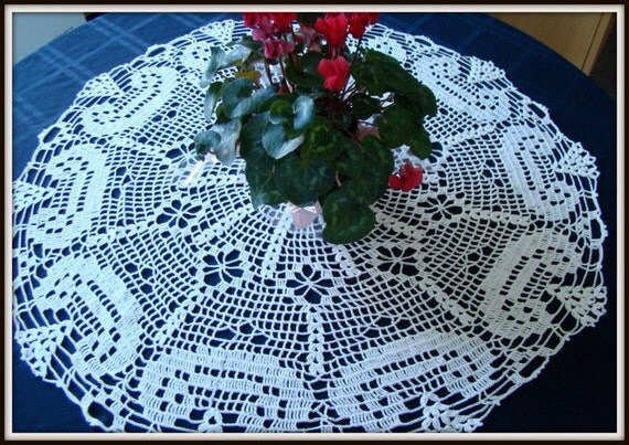 Welcome Home round white thread crocheted doily