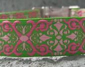 Preppy Pink Scroll Dog Collar