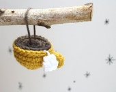Ready to Ship - Crochet Teacup Ornament Yellow - Holiday Decoration Christmas Ornament by SheepishKnitCrochet on Etsy
