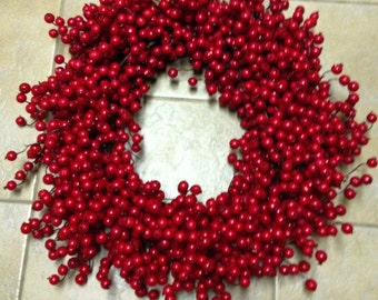 Large Red Cranberry Wreath, Cranberry Christmas Wreath, FREE Wreath Hanger Included