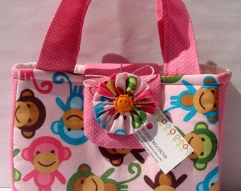 Mini Tote Bag For Her- Urban Zoologie Monkeys In Spring