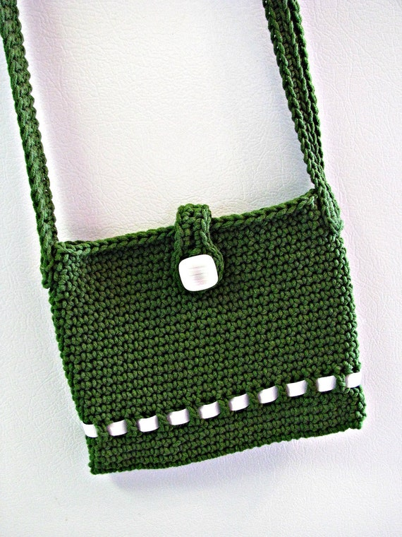 Green and White Purse with Button and Shoulder Strap Hand Crocheted Ponderosa Bag Leprechaun Spring