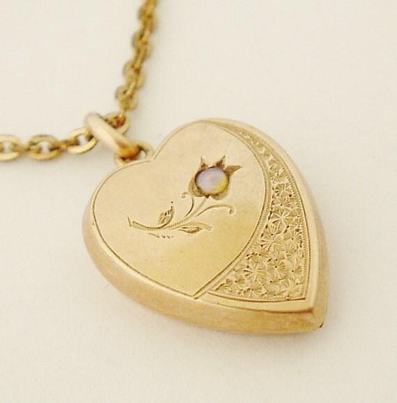 Antique German jugendstil pink gold and opal heart pendant on gold fill chain