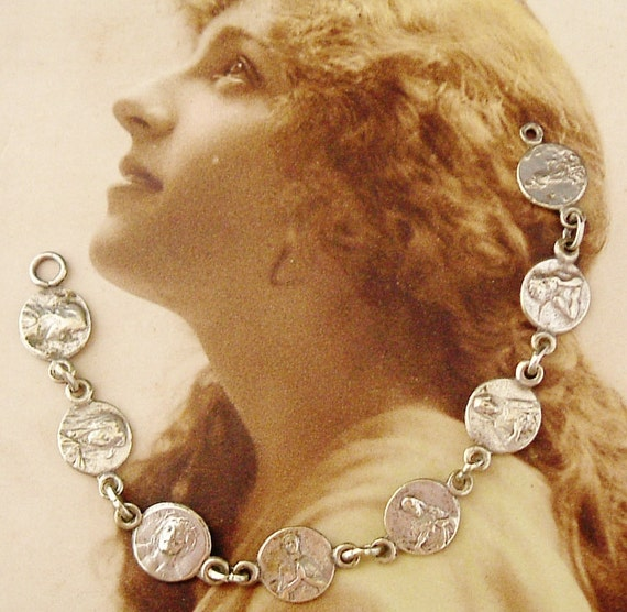 Tiny French religious silver medal charm connectors art nouveau part bracelet