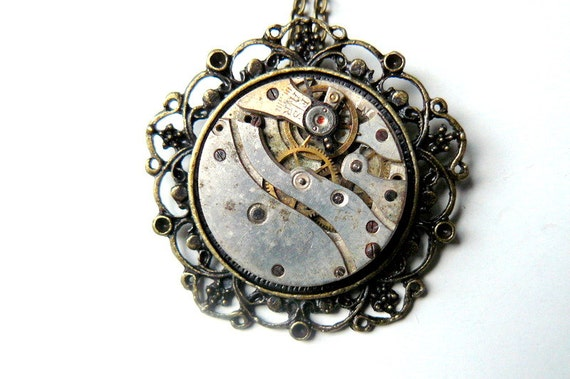 Steampunk Necklace, Steampunk Watch Necklace, Antique Gold Necklace, Victorian Steampunk Jewelry by pennyfarthingdesigns on Etsy