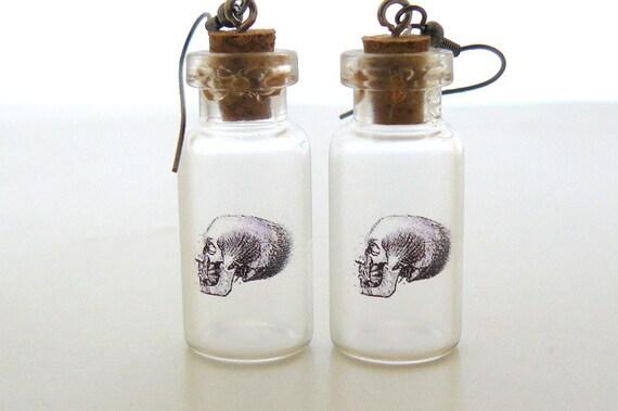 Halloween Earrings Skull Earrings Gothic Earrings Bottle, Steampunk Gothic Halloween Jewelry by pennyfarthingdesigns on Etsy
