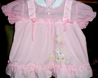Charming VINTAGE Baby DRESS - Pink Pinafore Style w/Giraffe Embroidery