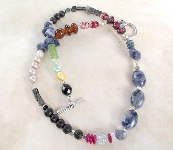 SALE Rainbow gem necklace. pearls, sodalite, haematite, crystals by Eva