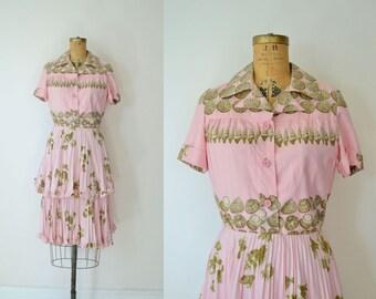 Vintage Valentino Dress / 70s Silk Sea Shell Print Dress