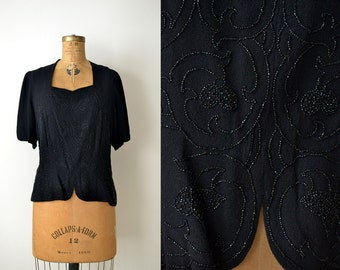 1940s Rayon Blouse / 40s Beaded Blouse