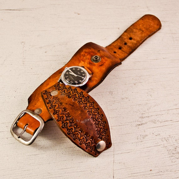 Reserved for Jen - Vintage Watch Band Tooled Leather RARE Goodmerchants