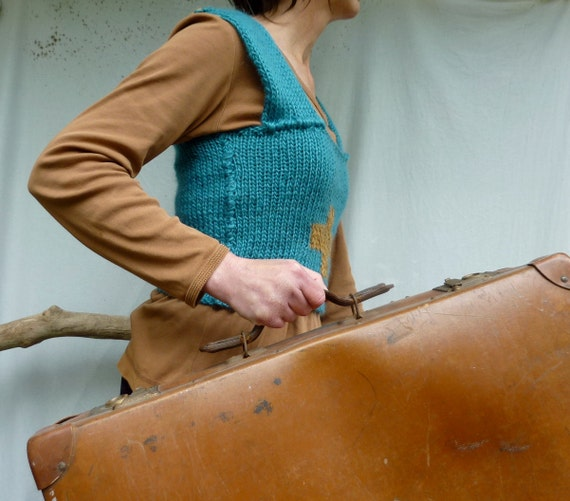 Positive Bodice, hand knitted, blue and caramel wool mix yarn, Ready to Ship