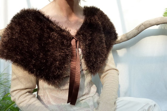 Ortak Capelet, hand knitted in faux fur chocolate brown yarn with grosgrain ribbon tie, READY TO SHIP