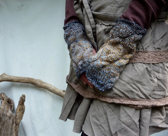 Storm Warmers, hand knitted fingerless cable gloves, brown and blue wool-mix yarn, READY TO SHIP