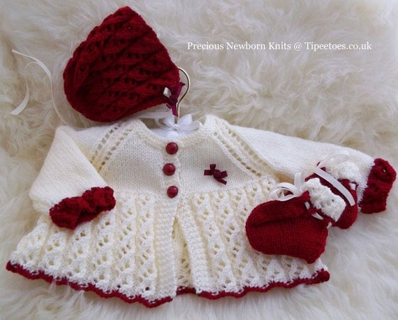 Baby Girl Sweater Patterns Knitting : Baby Knitting Pattern Baby Girls or by PreciousNewbornKnits