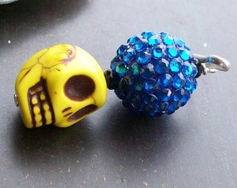Yellow Sugar Skull Zipper Pull Charm