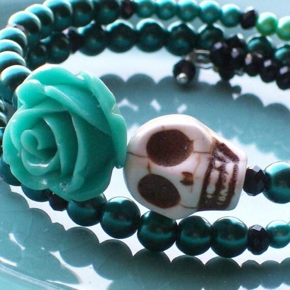 Sugar Skull and Blue Rose Bracelet