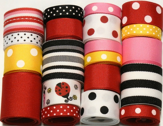 20 Yd Ladybug Pink and Red Grosgrain Ribbon Lot - You Receive 1 yard each style ribbon