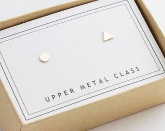 Mini Mixers - Circle Triangle Earrings in Bronze