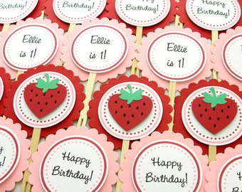 Strawberry Happy Birthday Part Cupcake Toppers ~ Red & Pink