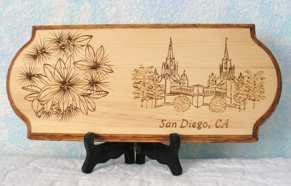 LDS Temple Woodburned Plaque, San Diego, California - CUSTOM EXAMPLE