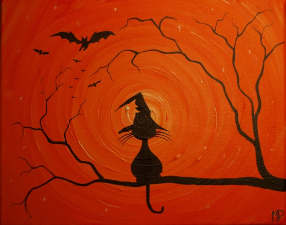 The Witches Hat -  8 x 10, acrylic on canvas, ready to hang, ORIGINAL by Michael H. Prosper