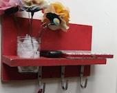 Shabby Chic Shelf Distressed wood and paint Cottage decor Large Industrial Hooks Mason Jar
