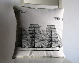 Sails Boat - 16x16  pillow cover