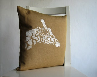 Giraffe on Cognac / Camel / Tan Canvas - 16 x 16 Cushion cover.