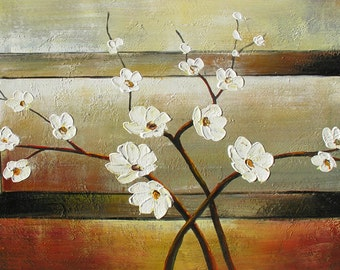 ORIGINAL Oil Painting Let a Thousand Flowers Blossom 45 x 23 Flowers Palette Knife White Brown ART by Marchella