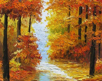 o Print on canvas from Painting Canadian Autumn Landscape Sunny Fall Trees Maple Park Colorful Red Orange Home decor ART by Marchella