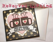 RESERVED LISTING Love Coffee Mugs & Bicycle Anniversary Cards