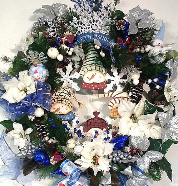 Snowman Family Circle door wreath Blue white Christmas Winter Holiday wreath soo CuTe by Cabin Cove Creations