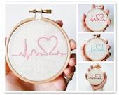 Custom color Cross stitch in wooden hoop Heart - h002