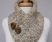 Cowl Knitted Oatmeal Buttoned Neck Warmer Scarflette Scarf