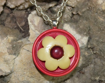 Vintage Flower Button Mixed Media Necklace Pendant P 4