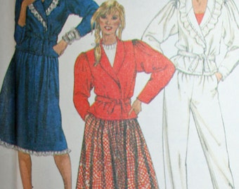 Vintage Jacket Skirt Pants and Tie Belt Sewing Pattern McCalls 7860 Size 12 Bust 34