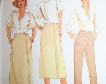 Vintage Front Wrap Skirt and Pants Sewing Pattern McCalls 6414 Size 14 Waist 28 or 71 cm