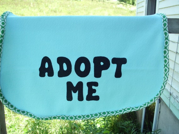 Dog Adopt Me Vest Medium/Large Light Blue with Green & White Trim